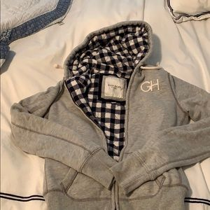 Warm Gilly Hicks zip hoodie with cute plaid detail